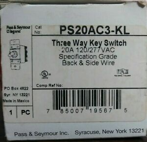 Pass Seymour Legrand Ps20ac3 kl 3 way Key Switch 20 Amp 120 277 Vac New In Box