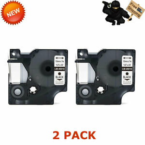 2 Pk Compatible For Dymo Black On Clear D1 45010 Label Tape Labelmanager 160 260