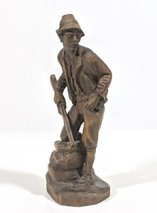 Vintage Black Forest Carved Wood Man With Gun Figurine Europe Tyrolean Costume