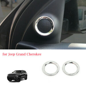 2x Front Door Speaker Ring Trim For Jeep Grand Cherokee 2011 Accessories Chrome