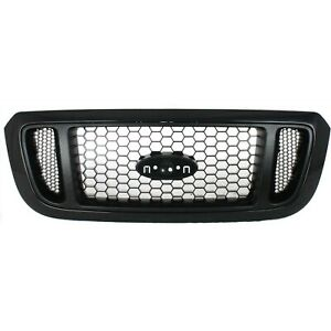Grille For 2004 2005 Ford Ranger Textured Black Shell W Silver Insert Plastic