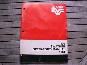 Versatile Farm Equipment 400 Swather Tractor Operators Manual Owner Manitoba Ca