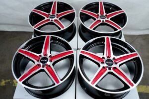 17x7 5 Wheels Honda Civic Accord Corolla Scion Xb Xa Miata Black Red Rims 4 Lugs