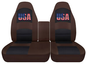 Usa Flag Car Seat Covers Brown Fits Ford F150 Lightning 40 60 Hiback Console