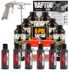U Pol Raptor Tintable Charcoal Metallic Bed Liner Kit W Spray Gun 6 Liters Upol