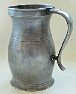 Scarce Signed Antique American Pewter Pint Measure By Boardman Hart New York