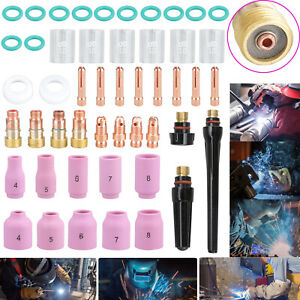 49pc Tig Welding Torch Stubby Gas Lens 10 Pyrex Glass Cup Set For Wp 17 18 26 Us