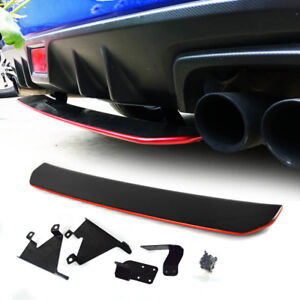 Painted Black Red Fit For Subaru Wrx Sti 4th Rear Diffuser Under Lip Spoiler