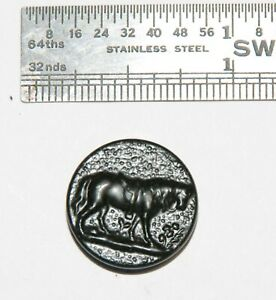 Antique Vintage Metal Picture Button France Sport Sporting Hunt Livery Horse