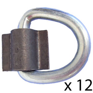 12 D Rings 3 8 Weld On 5000 Lb For Atv Motorcycle Rope Trailer Truck Tie Down