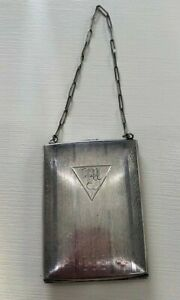 Antique Victorian Sterling Silver Dance Purse Compact On Sterling Chain