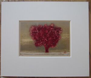 Japanese Framed Woodblock Print Hoshi Joichi Red Tree Unframed