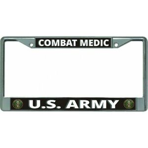 U S Army Combat Medic Chrome License Plate Frame