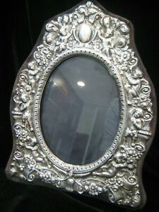 Large Vintage Ornate Hallmarked Signed Rbb Sterling Silver Photo Frame Putti