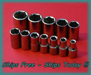 Craftsman 1 4 Drive 12 Pc Piece 6 Pt Point Metric Std Chrome Socket Set 4 14 Mm