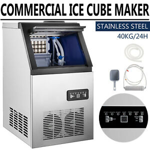 Commercial 90lbs Ice Maker Ice Cube Making Machine 3 8pc Stores Bar Restaurant