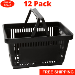 12 Pack Black Plastic Grocery Convenience Store Shopping Baskets Retail Tote