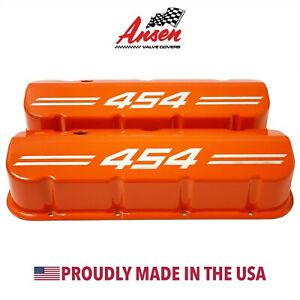 Big Block Chevy 454 Tall Valve Covers Die cast Aluminum Orange Ansen Usa