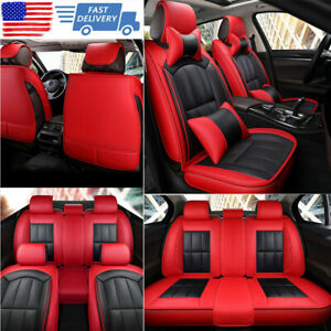 2020 Deluxe Sit Covers Car 5 seat Full Set Leather Interior Cushion Universal Us