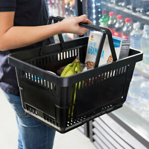 New 48 Count Plastic Grocery Store Market Shopping Basket Retail Handles Tote