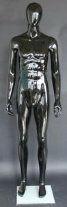 6 Ft 3 In Small Size Male Abstract Head Mannequin Glossy Black Finished Sfm85egw