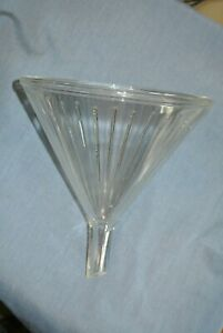 Vintage Glass Lab Funnel Ribbed 9x11