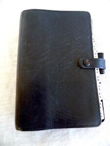 Vintage Filofax 4clf7 8 Black Leather Organizer Made In England For Paul Smith