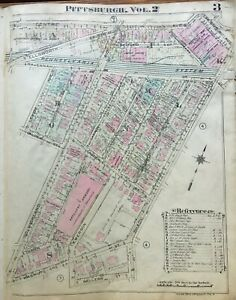 1923 Pittsburgh Pa Shadyside Armory Calvary Episcopal Church Atlas Map