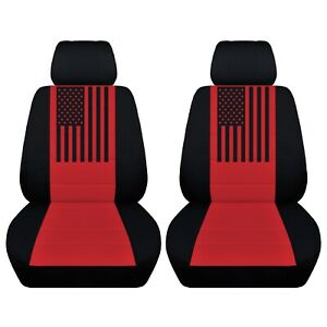 2 Front Customized Seat Covers American Flag Fits Toyota Tacoma 2010 2020