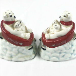 Coca Cola Salt And Pepper Shakers Polar Bears Down Hill