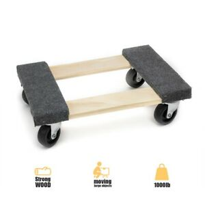 18 In X 12 In 1000 Lbs Capacity Hardwood Dolly Moving Furniture Heavy Duty