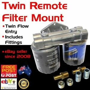 New Universal Twin Dual Remote Oil Fuel Filter Mount Racing Relocation Adaptor