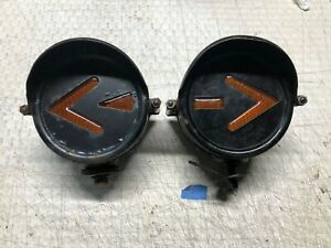 Large Pair Vintage Kd Sho Turn Front Arrow Turn Signal Light Old Truck Bus Semi