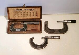 Vintage Micrometer Lot Of 3 Lufkin Slocomb Brown Sharpe 1 2 2 3 W Box