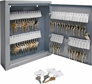 Secure Key Cabinet Steel Storage Box Holds 60 Keys Mountable Gray Home Office