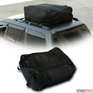 Black Waterproof Rainproof Roof Top Cargo Rack Carrier Bag Storage W Straps S24