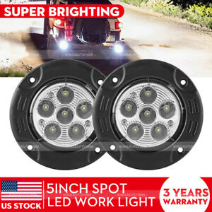 2x Round Flush Mount Led Lights 18w Led Spot Work Fog Light Off Road Driving 12v