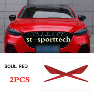 Red Abs Fits Mazda 3 Axela Sedan 2017 2018 Headlight Eyebrows Eyelids Trim 2pcs