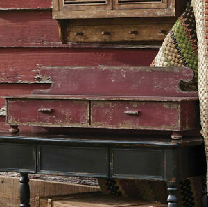 Primitive Aged Red Counter Shelf Vintage Look Farmhouse Rustic Drawers Footed
