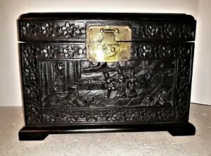 Vintage Ornate Carved Asian Wooden Pictorial Chinese Box Keepsake Trinket Chest