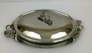 Godinger Silver Plated Oval Serving Tray Covered Casserole Dish Roses Leaves
