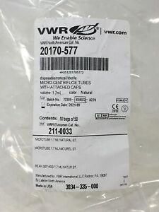 Vwr 50x Micro centrifuge Plastic Tubes With Attatched Caps 1 7ml 20170 577
