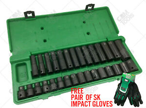 Sk Hand Tools 4053 30pc 1 2 Dr 6pt Standard And Deep Metric Impact Socket Set