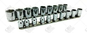 Sk Hand Tools 3919 19pc 3 8 Drive 6 Point Metric Chrome Socket Set