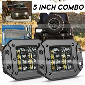 2x 160w 5 Flush Mount Led Work Light Bar Rear Bumper Reverse Pods 4 Row Driving