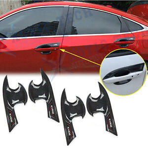 4x Carbon Fiber Pattern Door Handle Bowl Cover Cup Overlay Trims For Honda Civic