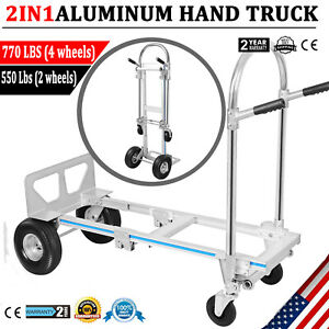 770lbs Aluminum Hand Truck Convertible Folding Dolly Platform Utility Cart 2in1