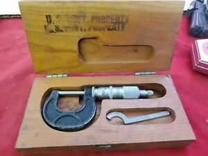 Scherr Tumico 1 Micrometer Caliper Tool Machine Vtg Us Gov Wood Box jl