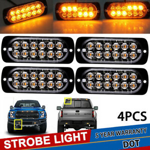 4x Car Amber 12 Led Strobe Flash Work Light Bar Hazard Beacon Warning Emergency