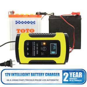 Automatic Battery Charger Maintainer Tender 12v 6a Motorcycle Atv Boat Car Lcd